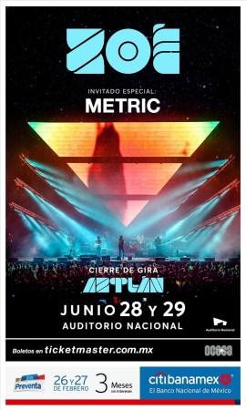 Zoé & Metric juntos por primera vez en la Cuidad de México el 28 y 29 de junio