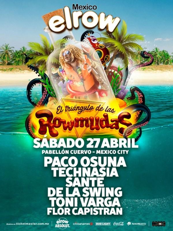 Lineup elrow 2019 para el Triángulo de las Rowmudas - rowmudas-mexico_flyer_lineup