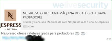 Phishing activo promete cafetera Nespresso gratis a través de WhatsApp - mensaje-que-llega-a-traves-de-whatsapp-con-el-engancc83o