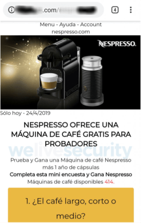 Phishing activo promete cafetera Nespresso gratis a través de WhatsApp
