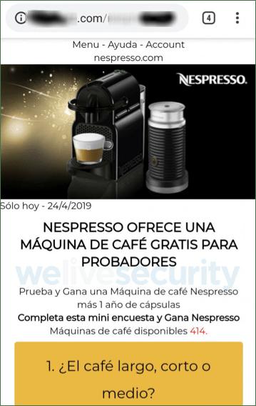Phishing activo promete cafetera Nespresso gratis a través de WhatsApp - solicitud-para-realizar-una-encuesta