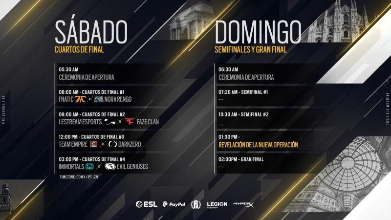 Final de la novena temporada de la Pro League de Rainbow Six Siege del 18 al 19 de mayo desde Milán - horarios-pro-league-de-rainbow-six-siege-milan