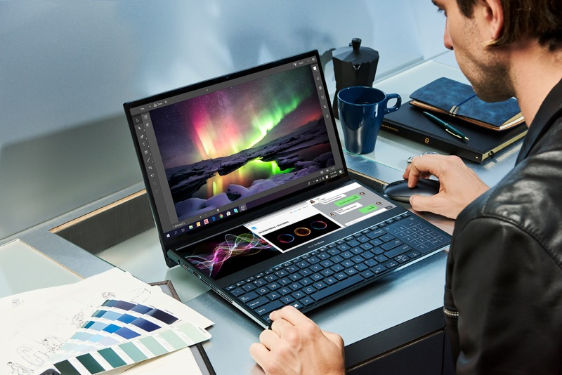 ASUS lanza Zenbook Pro Duo que incorpora ScreenPad Plus,una pantalla táctil secundaria - zenbook-pro-duo_ux581_multitasking-800x534