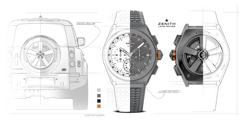 Crean Land Rover y Zenith reloj edición especial para conmemorar al Defender - land-rover-zenith-defy-21-watch-graphic