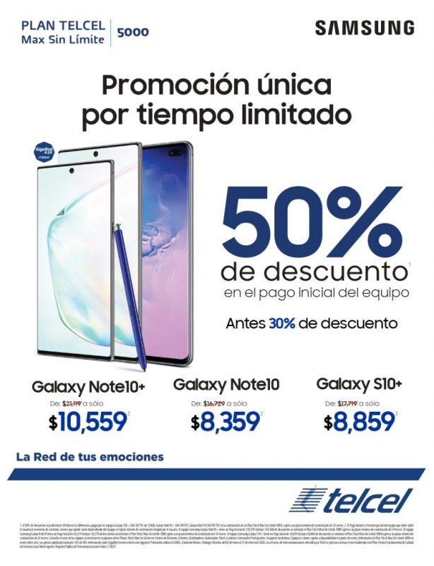 Galaxy Note10 y Galaxy S10+ con descuentos de hasta el 50% - samsung-telcel