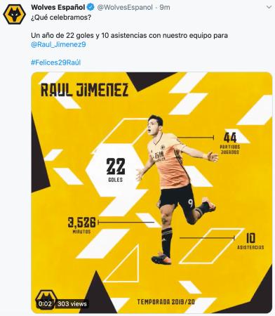 Los Wolves celebran el cumpleaños de Raúl Jiménez