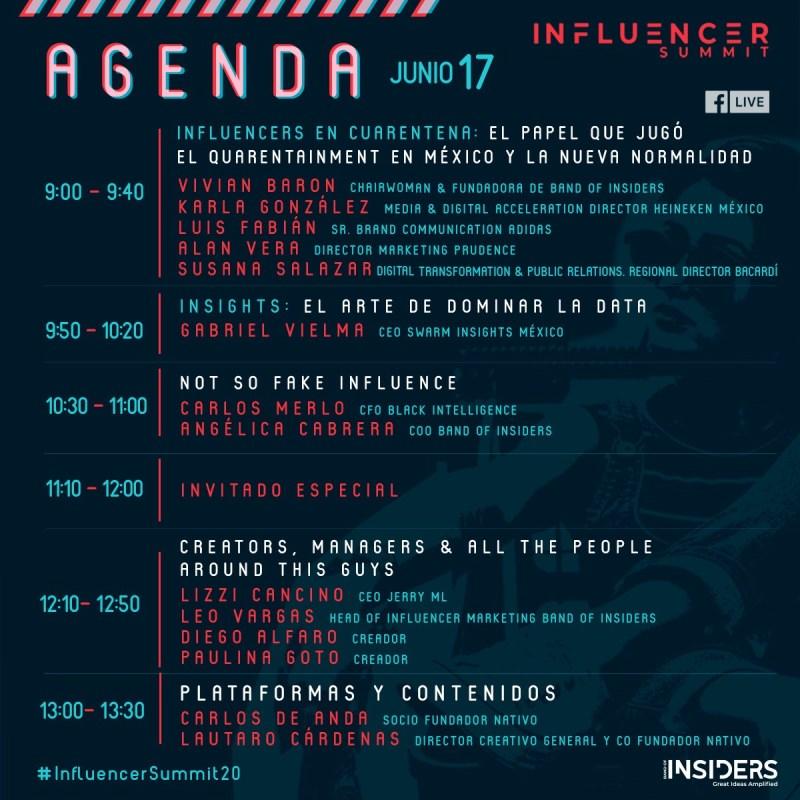"""""""Influencer Summit"""" tendencias de la industria del Influencer Marketing para la """"nueva normalidad"""" - agenda_infuencer-summit_insiders_2020"""
