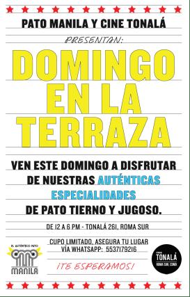 Cine Tonalá presenta su programación del 22 al 30 de agosto - domingo-en-la-terraza-con-pato-manila