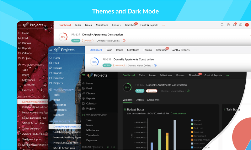 Zoho presenta Projects 7, nueva forma para gestionar proyectos caóticos - zoho-projects-7-01-themes-and-dark-mode-800x480