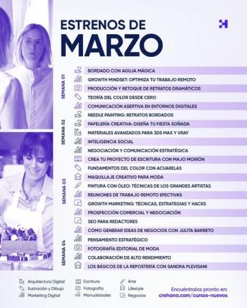 Crehana anuncia 23 nuevos cursos durante marzo