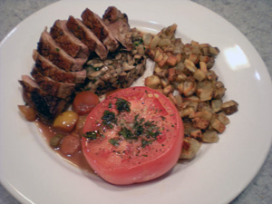 Duck, Slow Roasted Tomato, Mushroom Duxelle, Crispy Potatoes