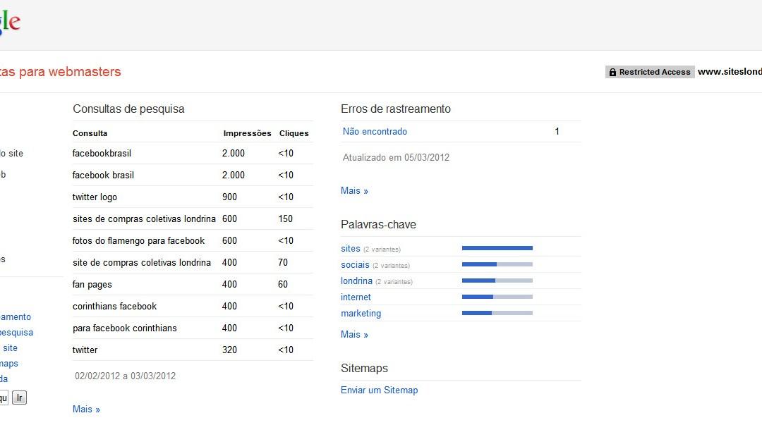 Google Webmaster Tools e Administração de Usuários