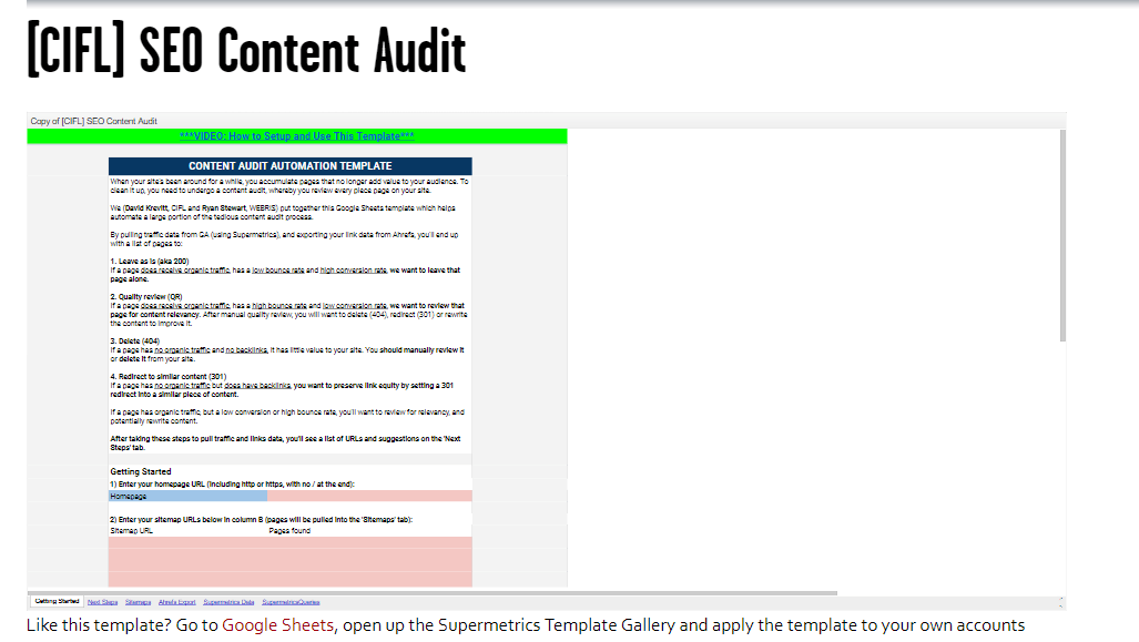 seo reporting templates - SEO Content Audit