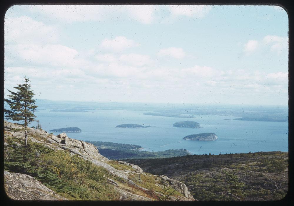 Islands off east coast of Mt. Desert Island from top of Cadillac Mtn., Bar Harbor, Maine