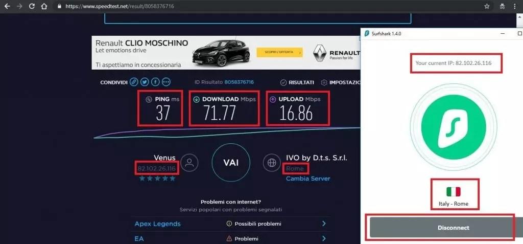 velocità Surfshark VPN