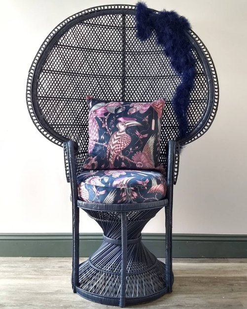 Navy Painted Vintage Peacock Chair