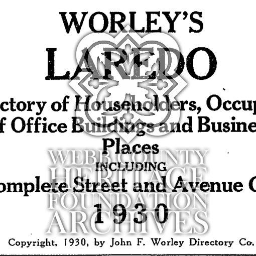Scan of 1930's Laredo's City Directory