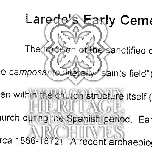 Scanned document pertaining to Laredo's Cemeteries