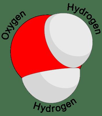 Water molecule, via Wikipedia/Booyabazooka