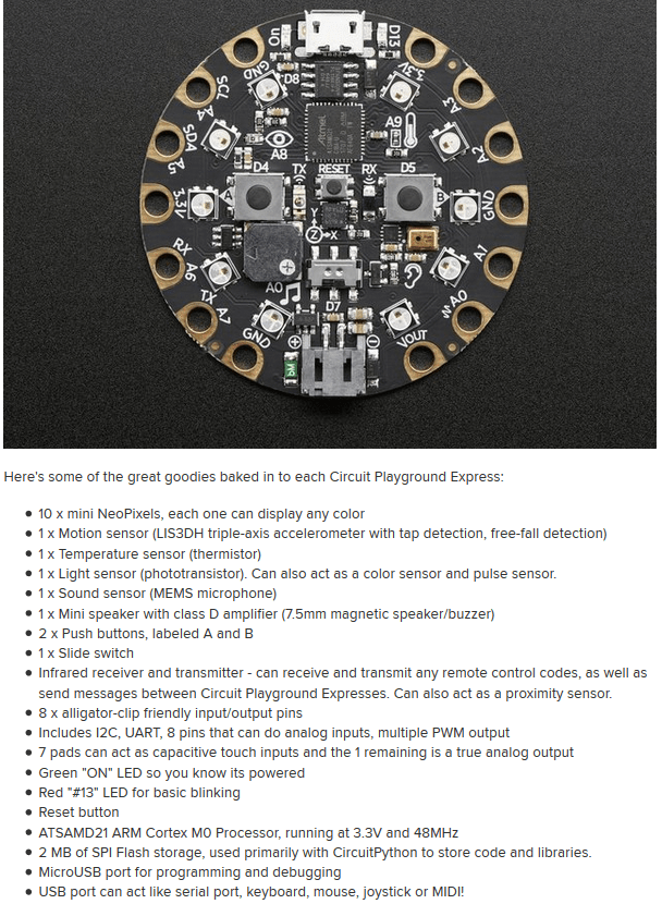 Features of the Circuit Playground Express