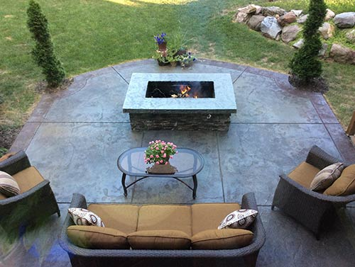 Outdoor Stamped Concrete Patio And Fire Pit Webb Signature Concrete