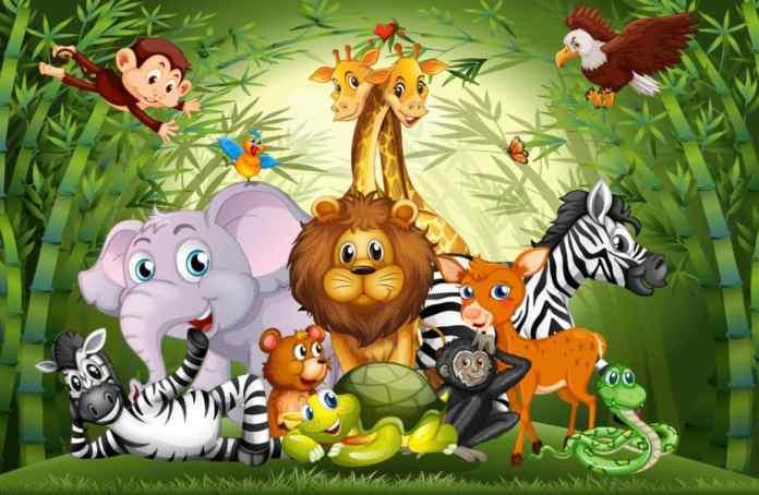 Ilustração de vários animais