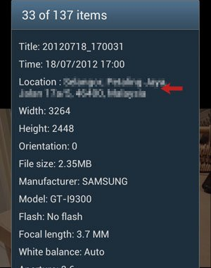 Photo Details with Location Info