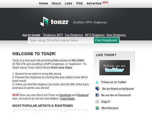 Tonzr Website