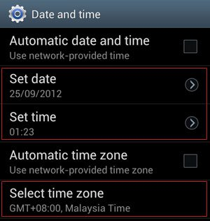 Date and Time Manual Options