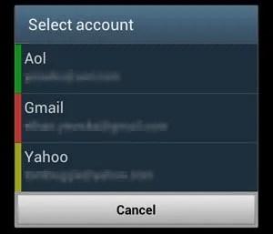 Select Account Menu