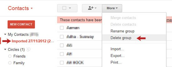 G Contact Delete Group Option