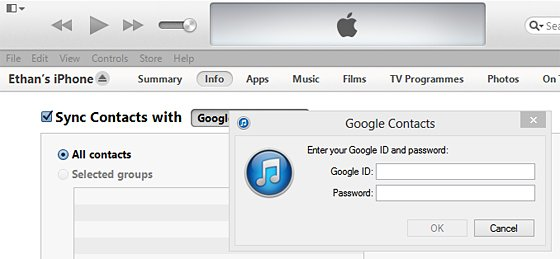Google Contacts Login Windows