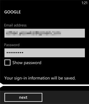 Google Initial Setup Screen