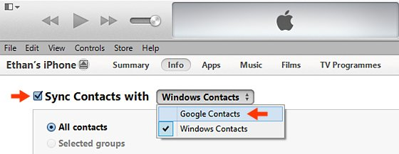 Sync Contacts Checkbox