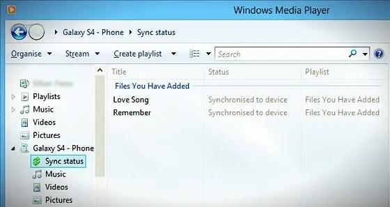 windows media player sync-status
