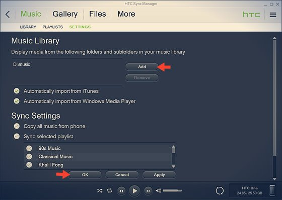 htc sync manager music settings