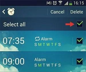select all alarms
