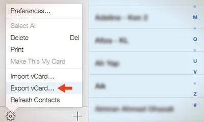 icloud export vcard option