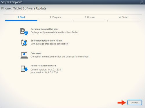 start tab tablet software update