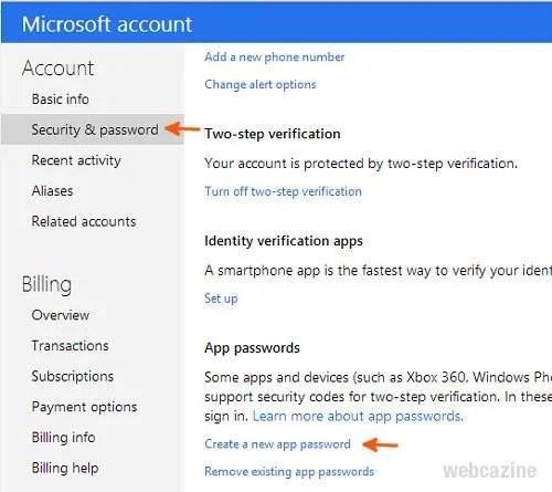 microsoft app password_1