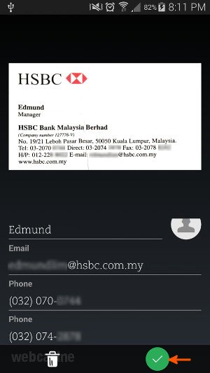 How to scan business cards using evernote on android webcazine evernote business card scanning2 reheart Image collections