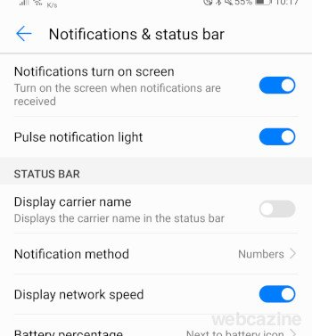 notifications and status bar