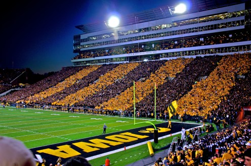 Kinnick at night with Hawkeye Stripes