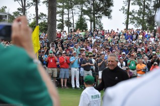Gary Player collects his hole-in-one shot