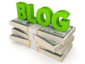 """The word """"blog"""" on top of stacks of dollars"""