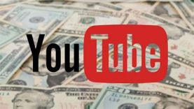 YouTube logo with money in background