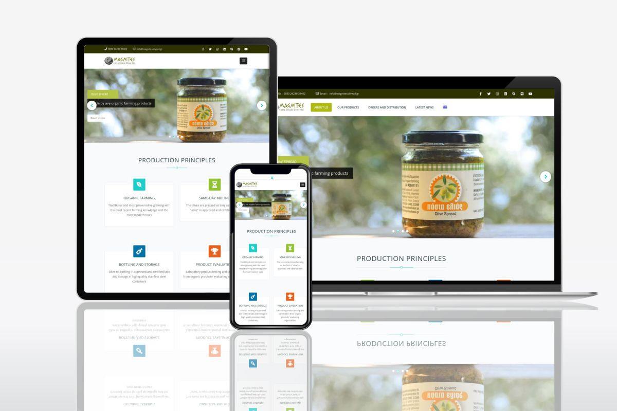 Magnites Olive Oil responsive website