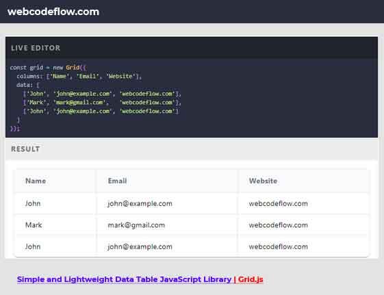 Data-Table-JavaScript-Library