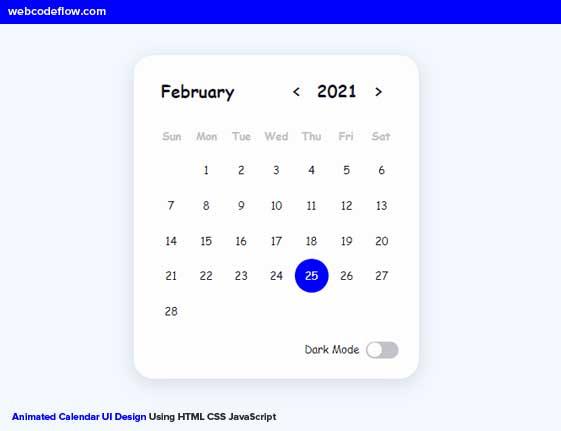 Animated-Calendar-UI-Design