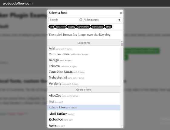 google-fontpicker-jquery-plugin